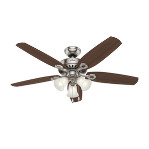 Ventilador de Teto Residencial Builder Plus Niquel Escovado Hunter Fan Oficial